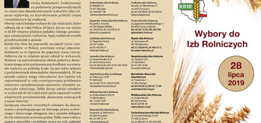 Wybory do Izb Rolniczych, 28 lipca 2019 r.
