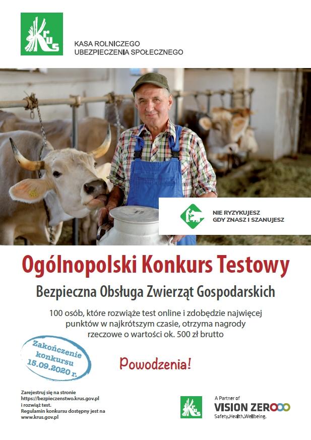 Ogólnopolski Konkurs Testowy z Zakresu Bezpiecznej Pracy w Gospodarstwie Rolnym – Bezpieczna Obsługa Zwierząt Gospodarskich